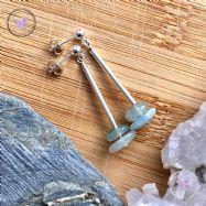 Aquamarine Chip Silver Tube Earrings